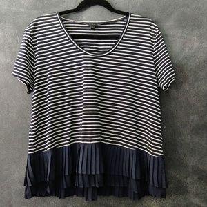 J. CREW | Striped Shirt Ruffle Hem Size Small
